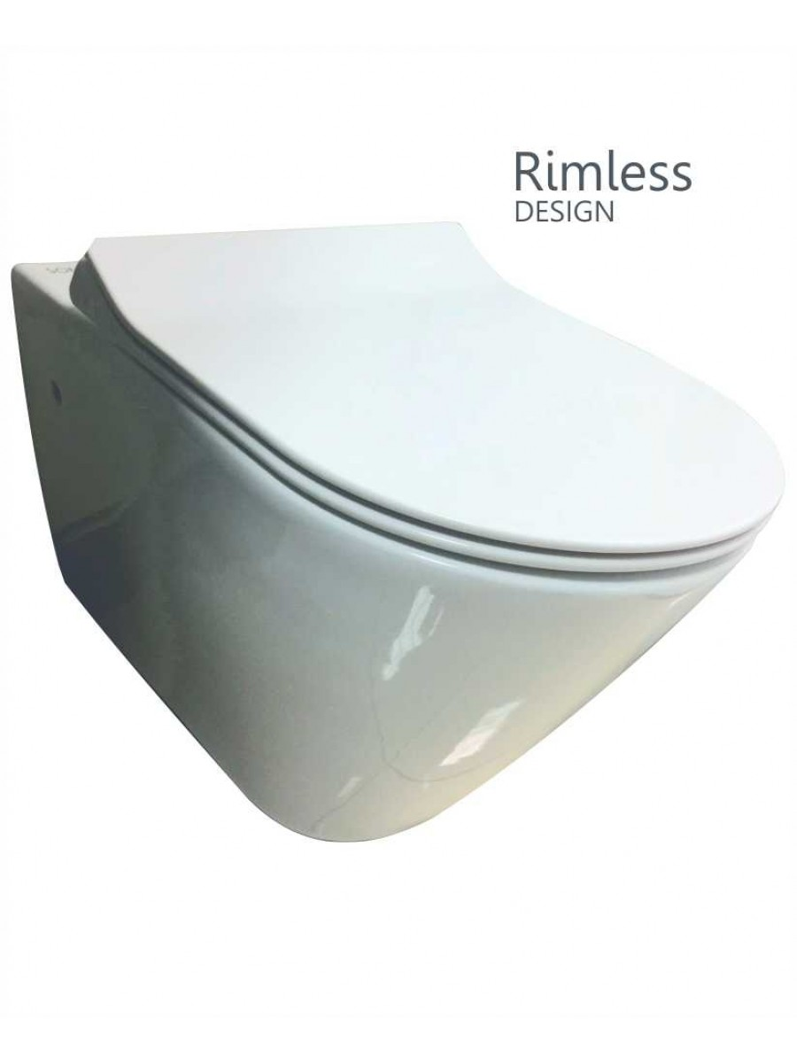 RAK Resort Wall Hung Rimless Toilet with SLIM Soft Close Seat