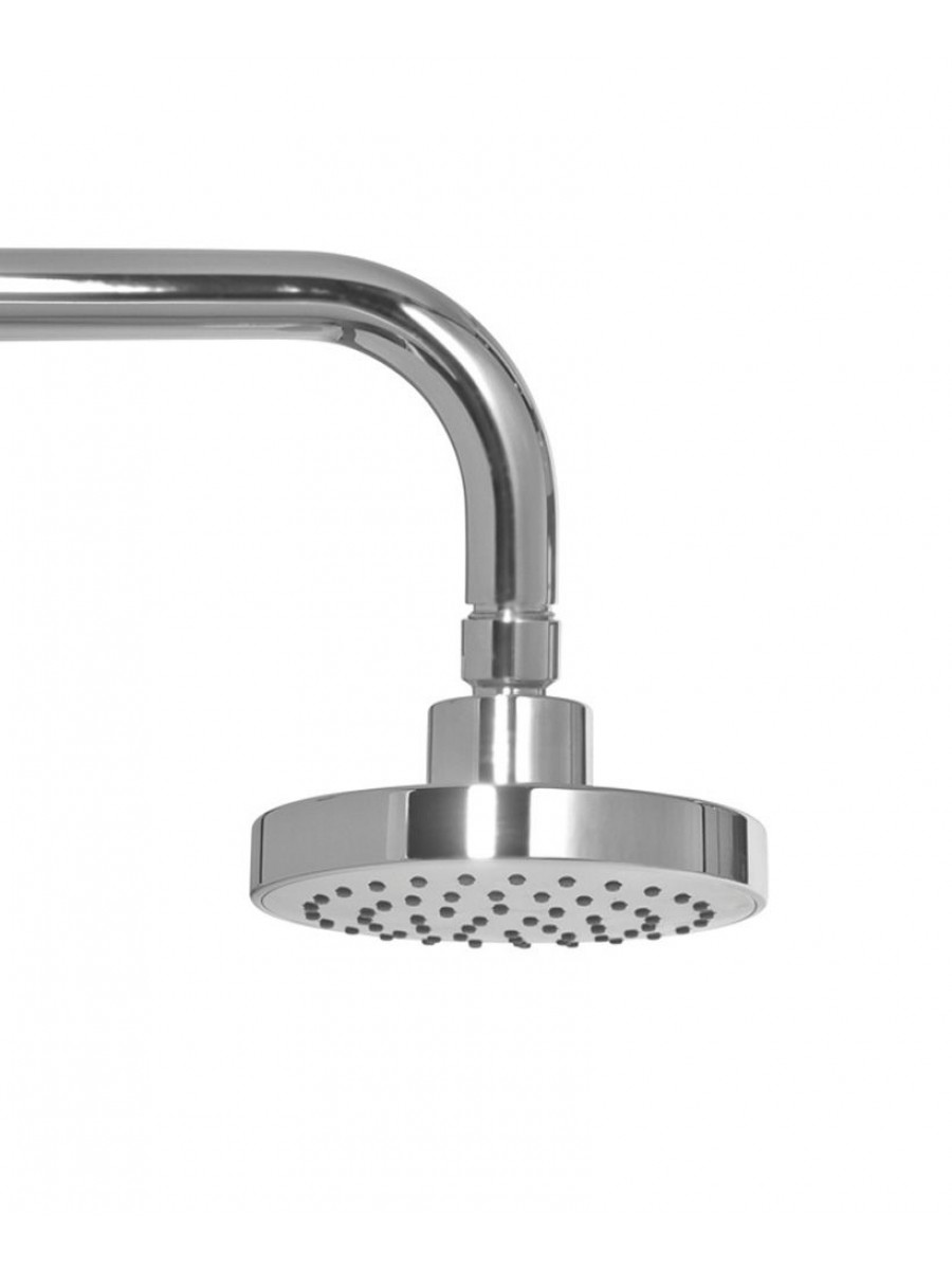 Ravia Round 120 Shower Head & 300 Wall Shower Arm - Grey Face