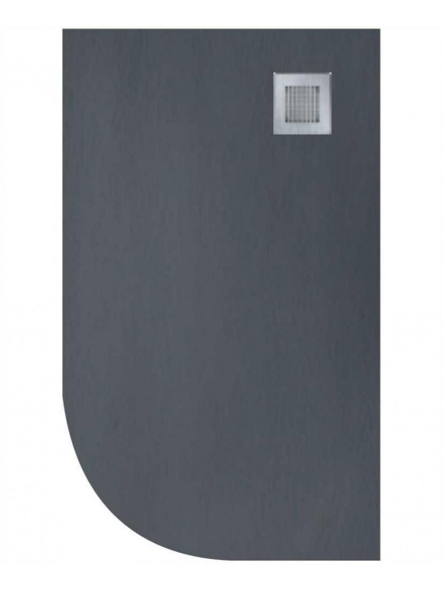 Slate 1200X900 Offset Quadrant Shower Tray Rh Anthracite - Anti Slip