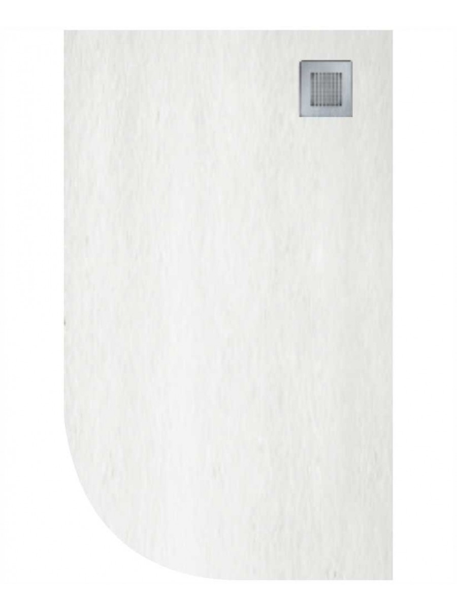 Slate 1000X800 Offset Quadrant Shower Tray RH White - Anti Slip