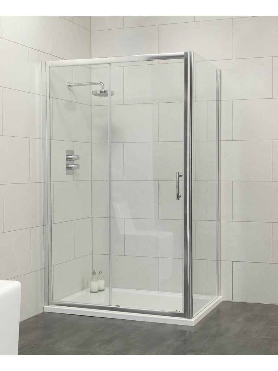 Cello 1000 x 700 sliding shower door - includes 700mm side panel