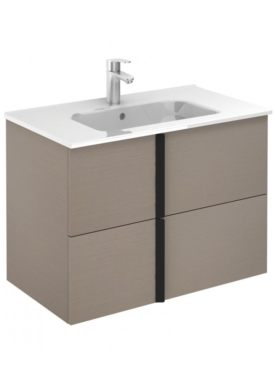 Athena Smokey Grey Wall Hung 80 Vanity Unit and SLIM Basin - 2 Drawer