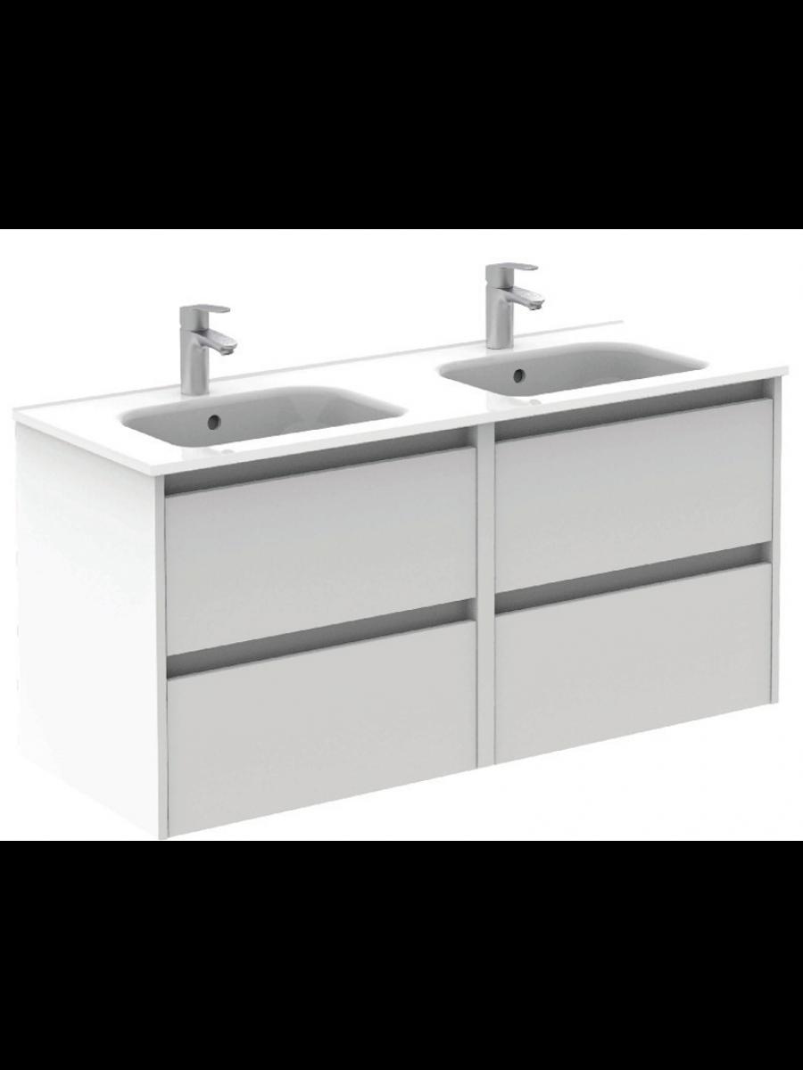 Sparta Gloss White 120cm Vanity Unit 4 Drawer & Slim Basin