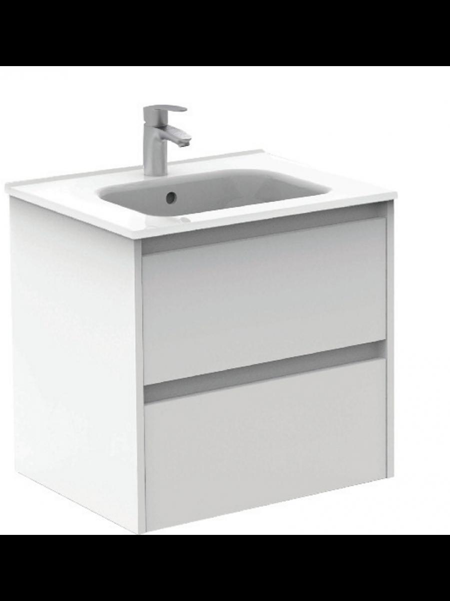 Sparta Gloss White 60cm Vanity Unit 2 Drawer & Slim Basin