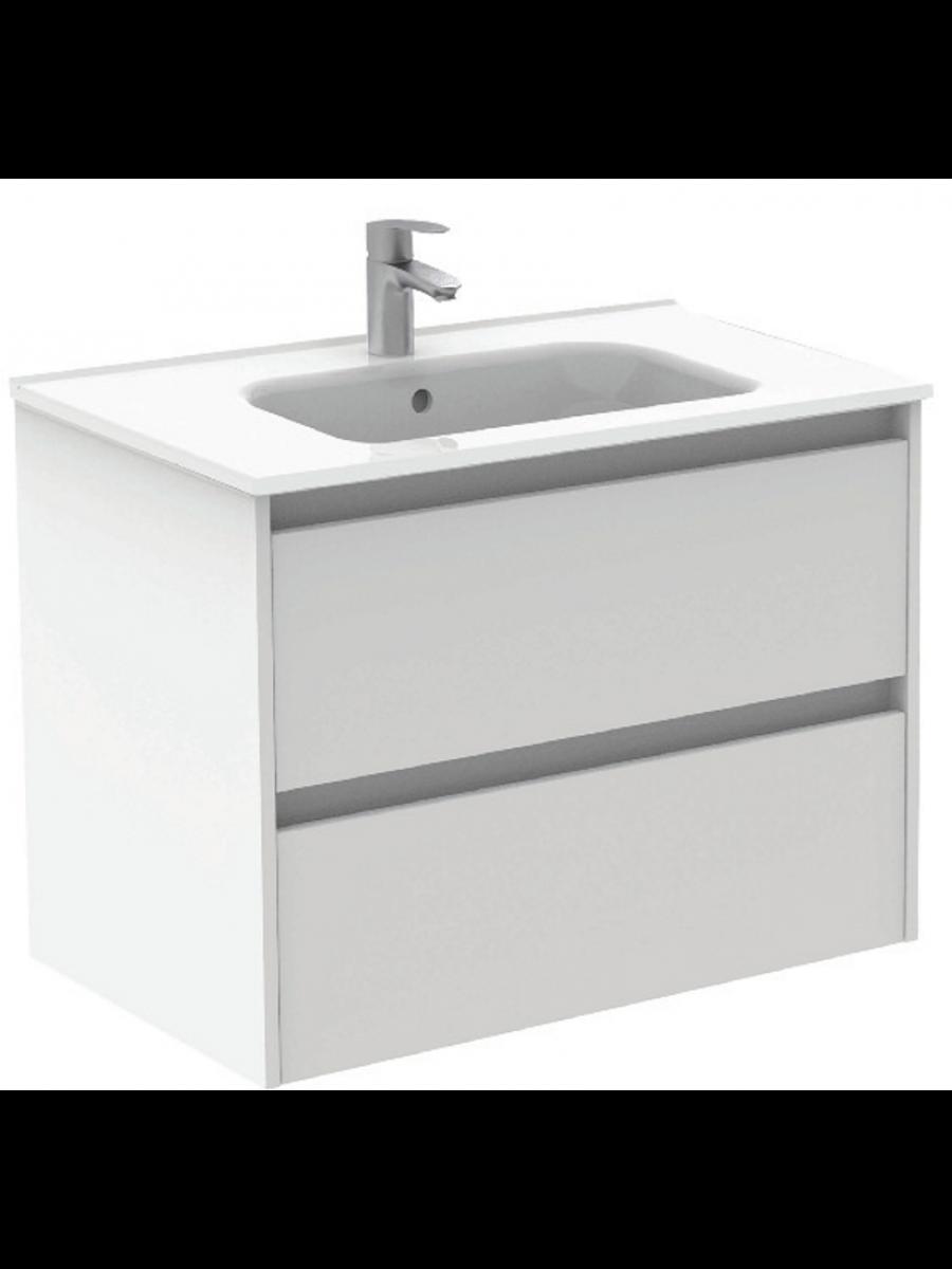 Sparta Gloss White 80cm Vanity Unit 2 Drawer & Slim Basin