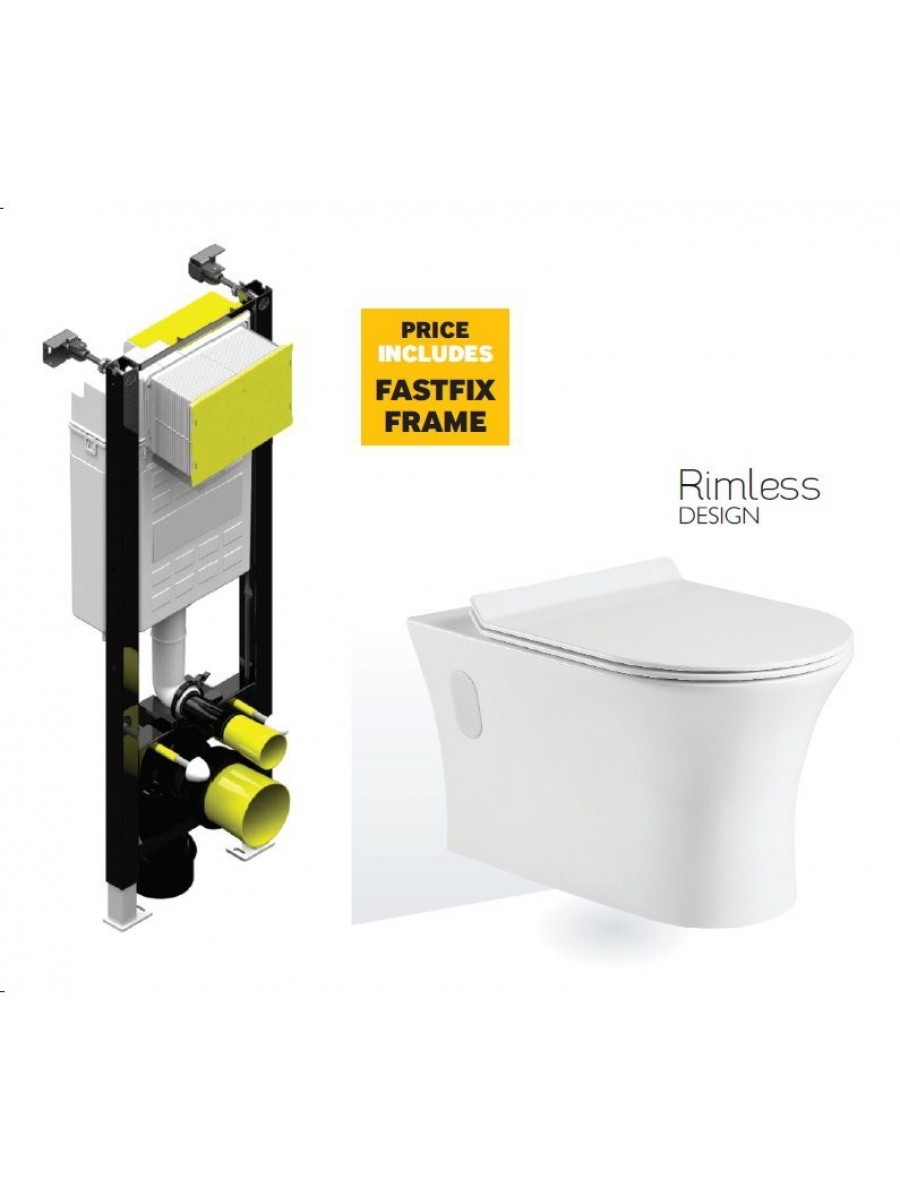 Bermuda Wall Hung RIMLESS Toilet with Quick Release SLIM Soft Close and Fastfix Frame