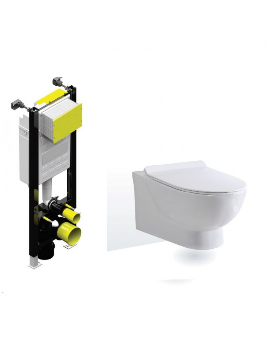 Antonia Rimless Wall Hung Toilet with SLIM Quick Release Soft Close Seat with Fastfix Frame