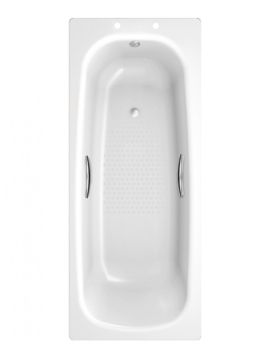 Stratum Single Ended 1600 x 700 Steel Bath - With Grips and Anti Slip