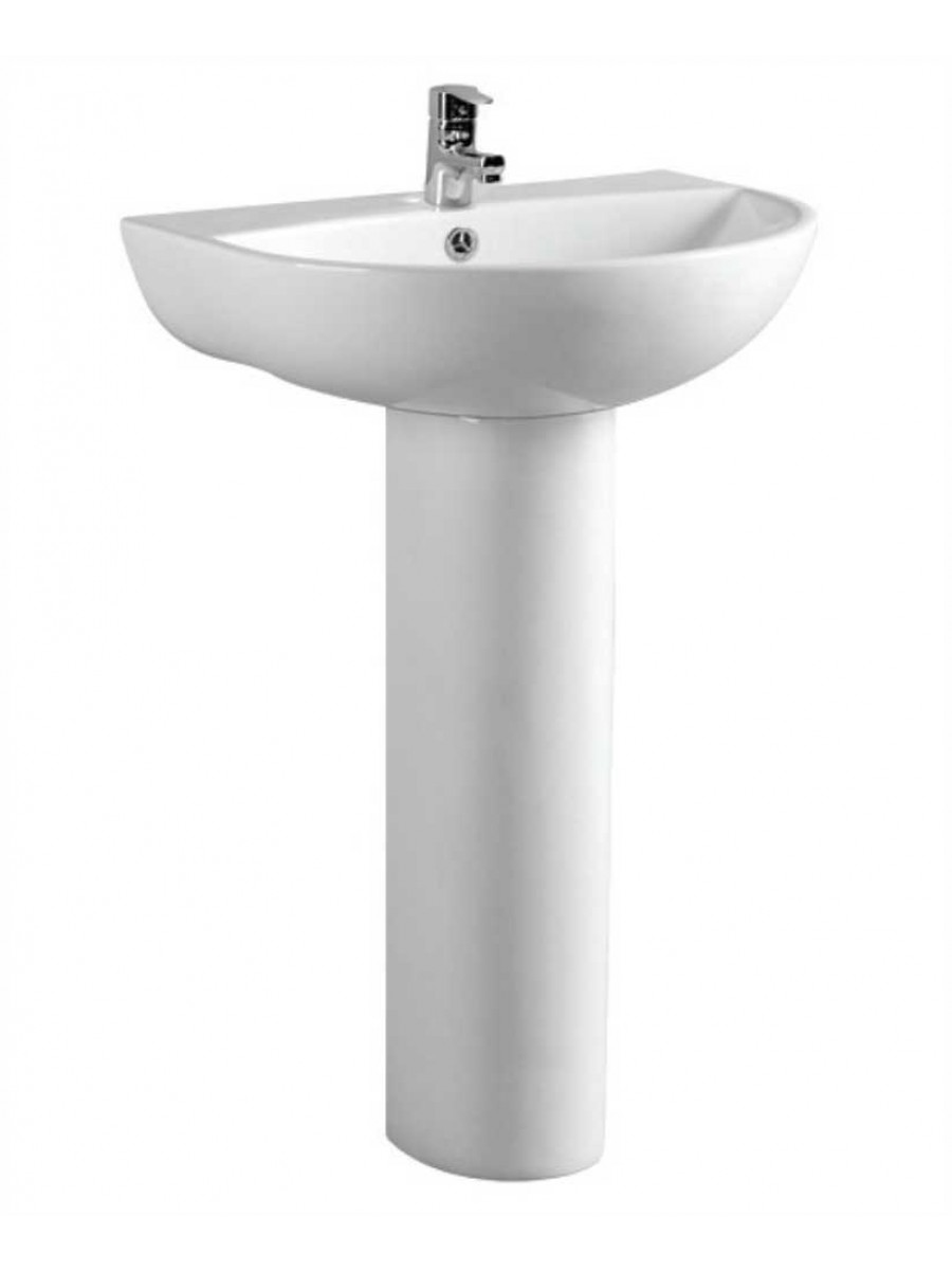 Veronica 55 cm Basin and Full Pedestal 1 Tap Hole
