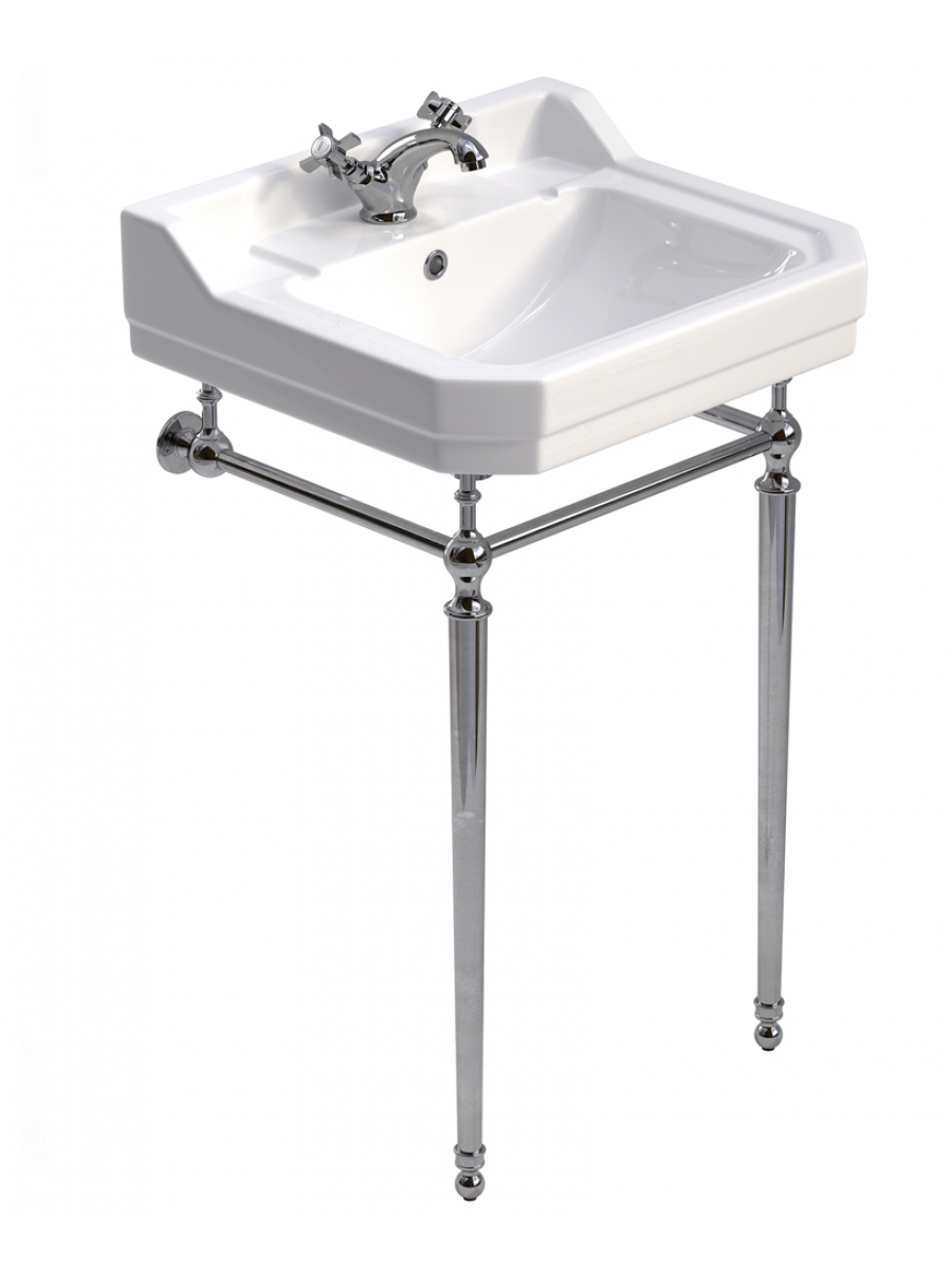Norbury 61cm Wash Basin & Chrome Washstand, 1 tap hole