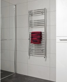Curved 1200x500mm Heated Towel Rail with Chrome Finish