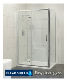 Cello 1000 x 800 sliding shower door - includes 800mm side panel