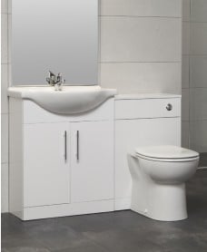 Blanco 65cm WC Combination Unit - with Twyford BTW Toilet & Seat
