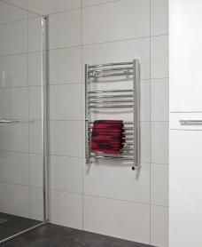 Curved 800x500 Heated Towel Rail Chrome