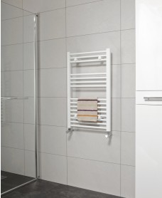 Straight 800x500 Heated Towel Rail White