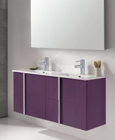 Athena Aubergine 120cm Double Vanity Unit 2 Door 2 Drawer & Basin