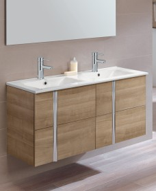 Athena Walnut 4 Drawer 120cm Wall Hung Vanity Unit and Basin