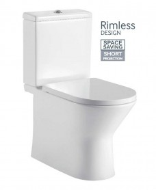 Alison Fully Shrouded Close Coupled Rimless WC with Quick Release Slim Soft Closing Seat