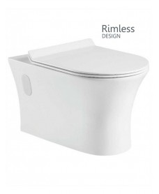 Bermuda Wall Hung RIMLESS Toilet with Quick Release Soft Close SLIM Seat