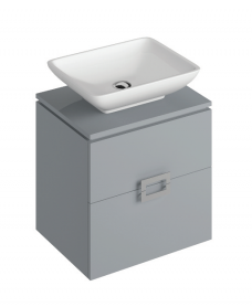 Ava Pearl Grey 55 cm Wall Hung Vanity Unit and AIMEE Countertop Basin