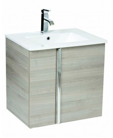 Athena Sandy Grey 60cm Wall Hung Vanity Unit 2 Door & Basin