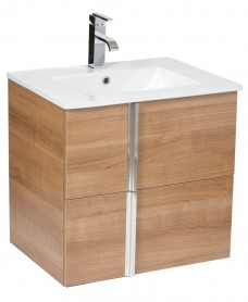 Athena Walnut 60cm Wall Hung Vanity Unit 2 Drawer