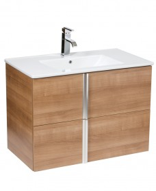 Athena Walnut 80cm Wall Hung Vanity Unit 2 Drawer & Basin