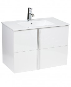 Athena White 80cm Wall Hung Vanity Unit 2 Drawer & Basin