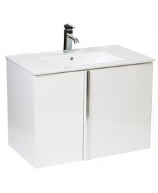 Athena White 80cm Wall Hung Vanity Unit 2 Door and Basin