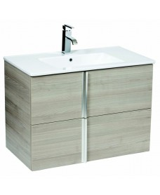 Athena Sandy Grey 80cm Wall Hung Vanity Unit 2 Drawer & Basin