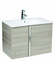 Athena Sandy Grey 80cm Wall Hung Vanity Unit 2 Door & Basin