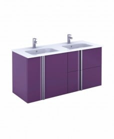 Athena 120cm Aubergine Double Vanity Unit with SLIM Basin -  Drawers + Doors