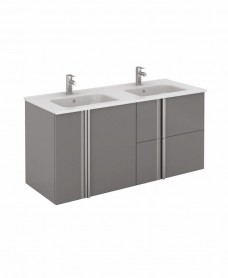 Athena 120cm Gloss Grey Double Vanity Unit with SLIM Basin -  Drawers + Doors