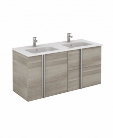 Athena 120cm Sandy Grey Double Vanity Unit with SLIM Basin -  Drawers + Doors
