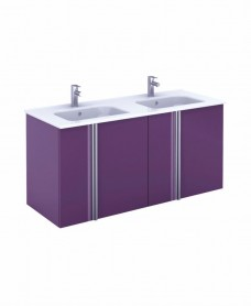 Athena 120cm Aubergine Double Vanity Unit with SLIM Basin -  Doors