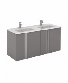Athena 120cm Gloss Grey Double Vanity Unit with SLIM Basin -  Doors