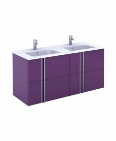 Athena 120cm Aubergine Double Vanity Unit with SLIM Basin -  Drawers