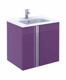 Athena 60cm Aubergine Vanity Unit with SLIM Basin - Doors