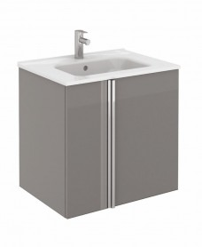 Athena 60cm Gloss Grey Vanity Unit with SLIM Basin - Doors