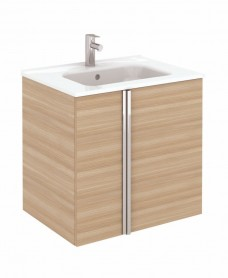 Athena 60cm Walnut Vanity Unit with SLIM Basin - Doors