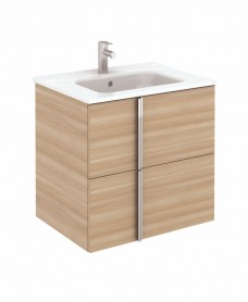 Athena 60cm Walnut Vanity Unit with SLIM Basin - Drawers