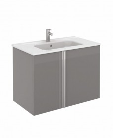 Athena 80cm Gloss Grey Vanity Unit with SLIM Basin - Doors