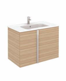 Athena 80cm Walnut Vanity Unit with SLIM Basin - Doors