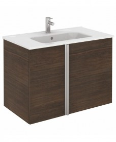 Athena Sandy Wenge 2 Door 80cm Wall Hung Vanity Unit and Slim Basin