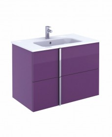 Athena 80cm Aubergine Vanity Unit with SLIM Basin - Drawers