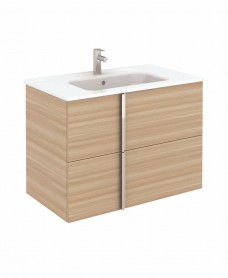 Athena 80cm Walnut Vanity Unit with SLIM Basin - Drawers