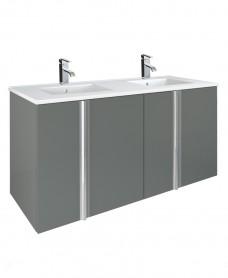 Athena Gloss Grey 120cm Double Vanity Unit 4 Door Basin