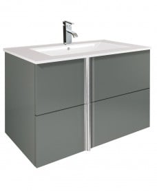 Athena Gloss Grey 80cm Vanity Unit 2 Drawer and Basin