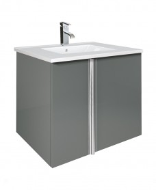 Athena Gloss Grey 60cm Vanity Unit 2 Door and Aida Basin