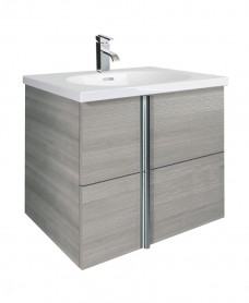 Athena Sandy Grey 2 Drawer 60cm Wall Hung Vanity Unit & Aida Basin